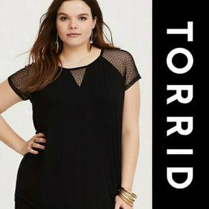 Torrid | Black Mesh Reglan Tee